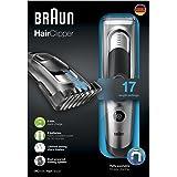 Braun HC5090 - Máquina de cortar pelo profesional, cortapelos con 17 ajustes de longitud y soporte de carga, color plata y negro