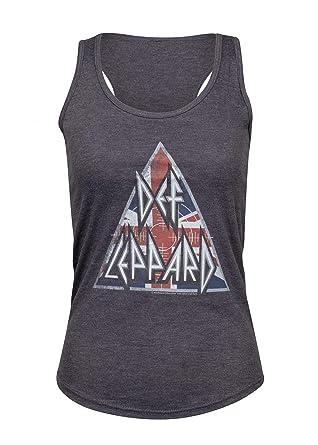 944767bd Amazon.com: Def Leppard Womens Union Jack Britlogo Tank Top Band Tee ...