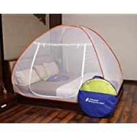Classic Mosquito Net Foldable King Size Double Bed With Saviours - (Orange)