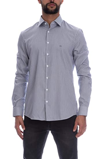 quality design bdbe9 de98f Calvin Klein Camicia Manica Lunga Uomo Righe Bianca: Amazon ...