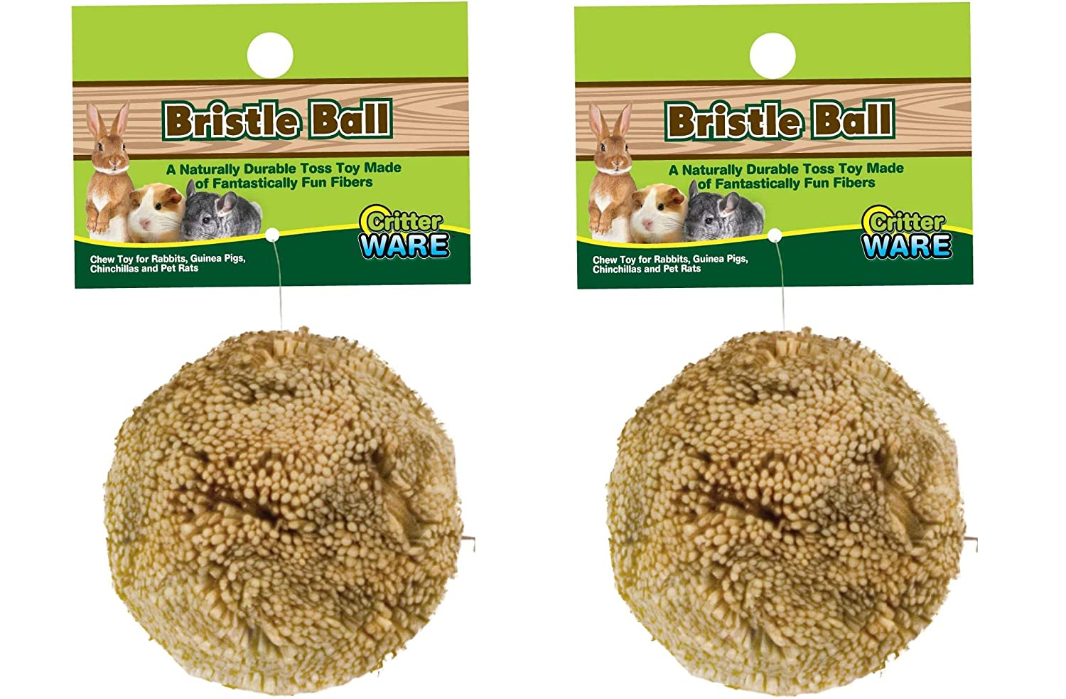 (2 Pack) Ware Manufacturing Natural Broom Grass Fiber Ball Chew Toy for Small Pets