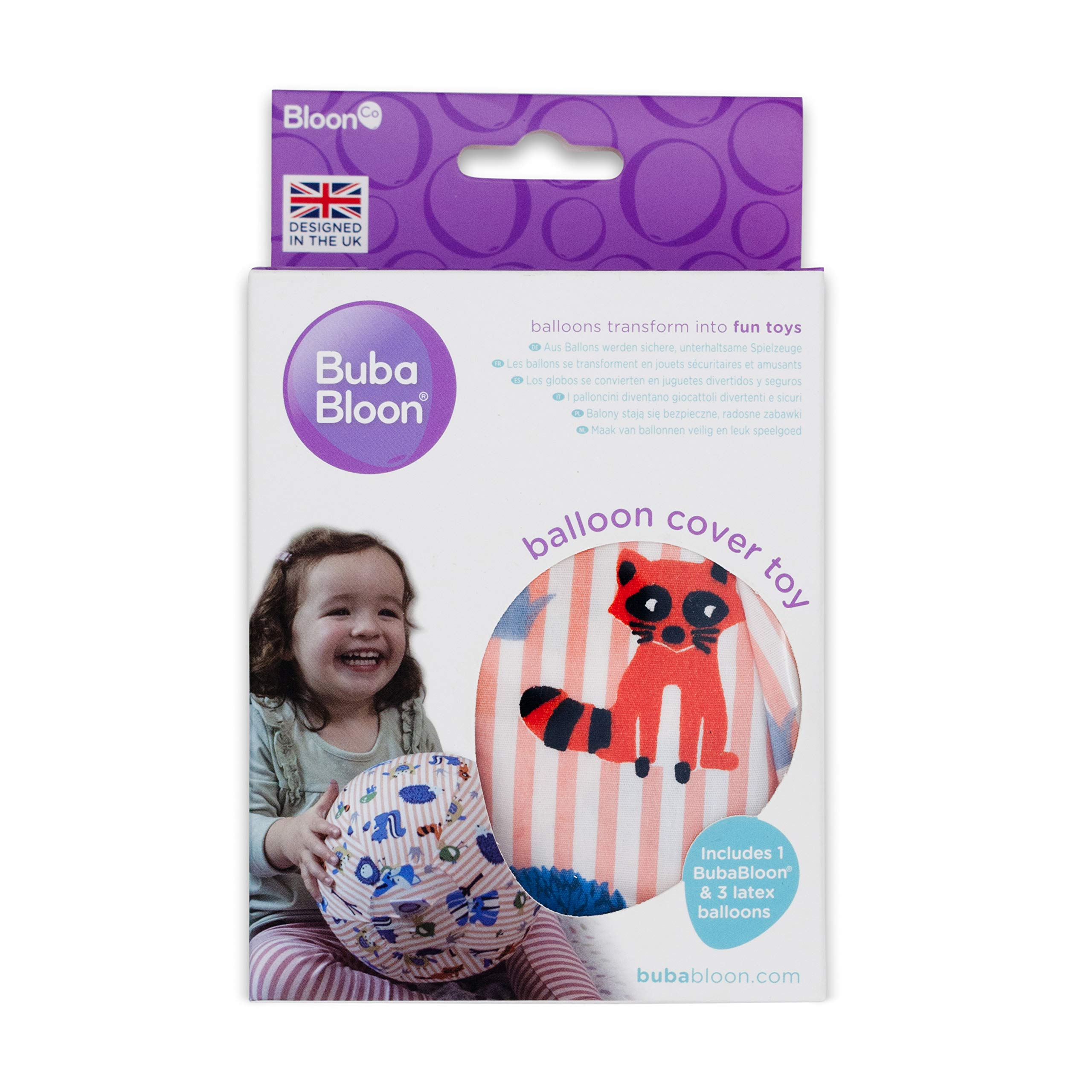 Bubabloon BB-390 Soft Cotton Balloon Cover Toy Safe Balloon Play Animal Stripes Pink