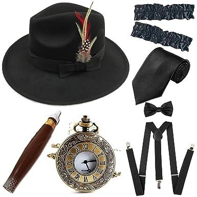 054651d9c041 1920s Trilby Manhattan Fedora Hat, Plastic Cigar/Gangster Armbands/Vintage  Pocket Watch,