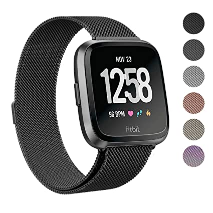 SWEES Metal Bands Compatible Fitbit Versa Smart Watch, Stainless Steel Metal Replacement Accessories Small Large for Women Men, Black, Champagne, ...