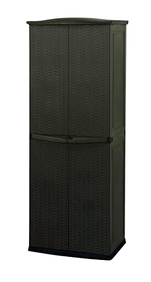 Keter Utility Cabinet Four Shelves Freestanding Plastic Rattan Compact Garden Shed - Brown  sc 1 st  Amazon UK & Keter Utility Cabinet Four Shelves Freestanding Plastic Rattan ...