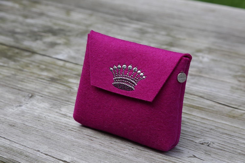zigbaxx Beautybag CROWN 1 - Kosmetiktasche klein Make up Tasche aus Woll-Filz mit Krone aus Strass & Studs, pink / beige / anthrazit/schwarz / grau - Geschenk Valentinstag Muttertag Weihnachten Geburtstag