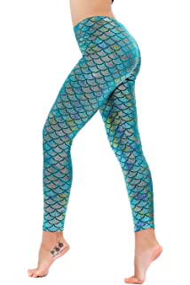 5504bdeb29abe2 Diamond keep it Women's Mermaid Fish Scale Printing Full Length Leggings