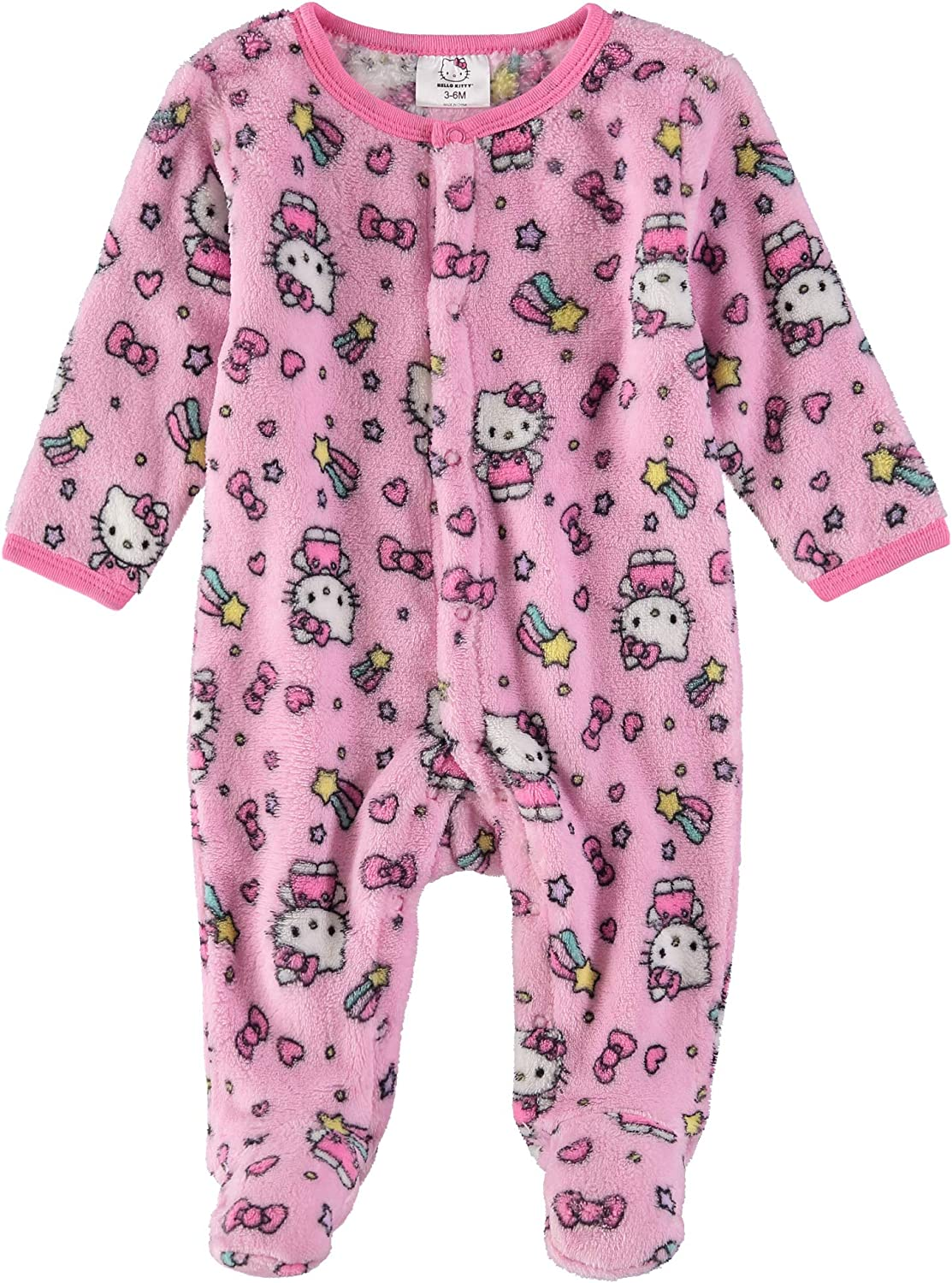 Hello Kitty Infant Baby Girls Fleece Footed Pajamas - Sleep and Play Footie Pink