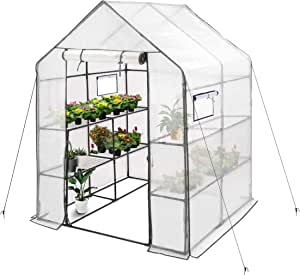 2 Tier 6 Shelves Hot House for Flowers Erommy 84 W x 56 D x 77 H Mini Walk-in Greenhouse,Indoor Outdoor Plant Gardening Plants and Vegetables,White