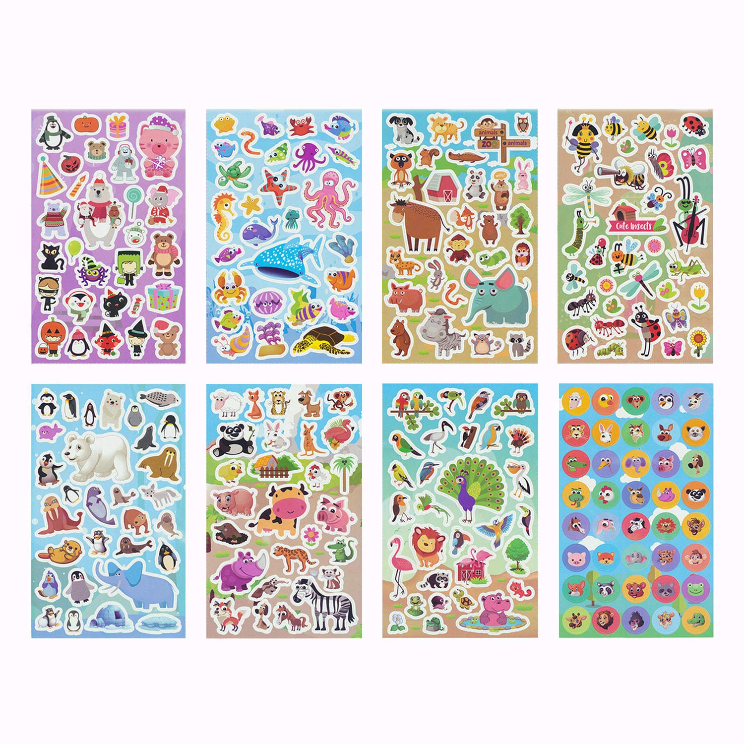 Animal Stickers,Stickers for Kids Assortment Set (1450+ Count),8 Themes Collection for Children,Teacher, Parent, Grandparent, Kids, Craft, School, Planners & Scrapbooking,Present Idea for Children