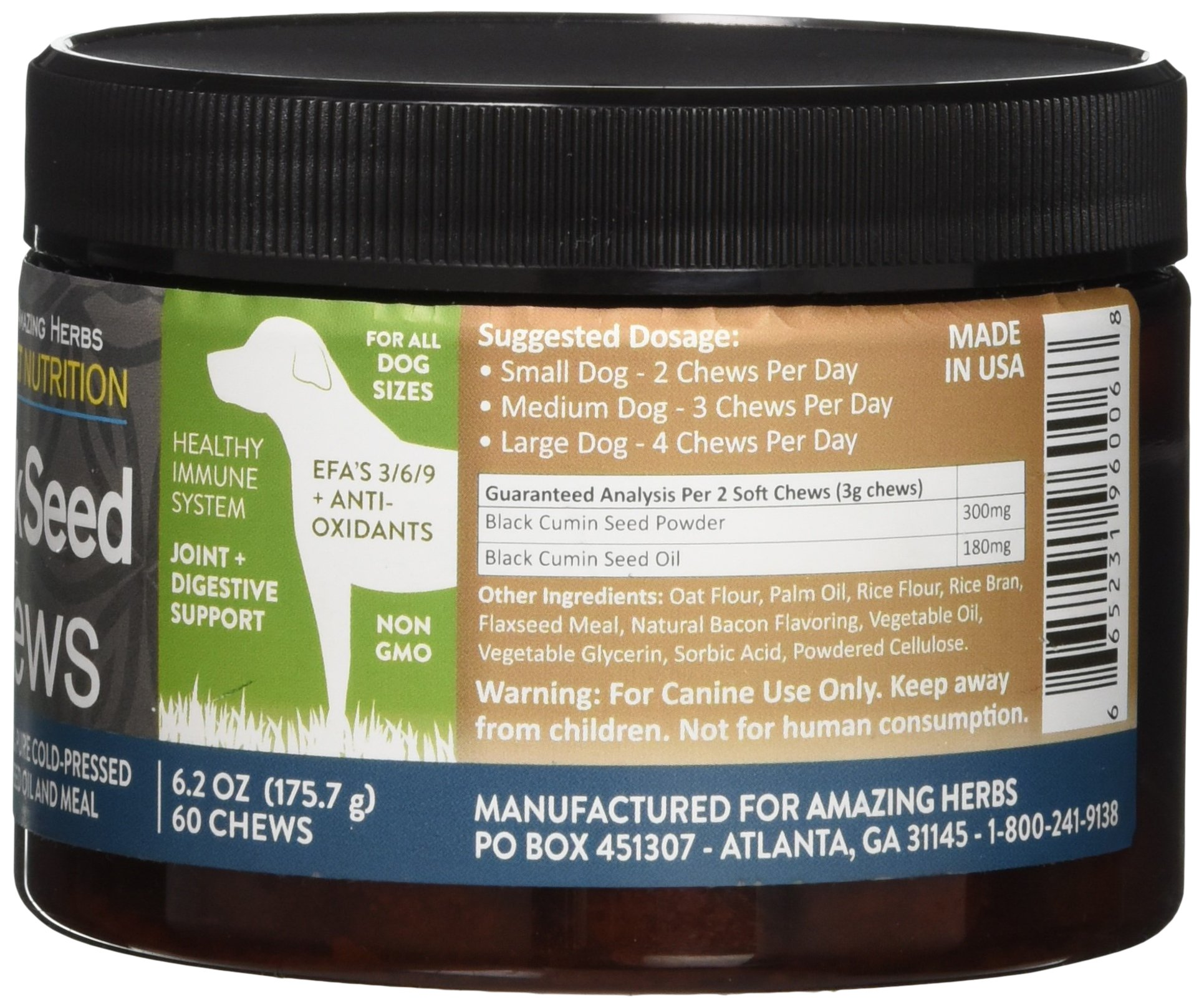Amazing Herbs Black Seed Soft Chews for Dogs, 6.2 Gram by Amazing Herbs (Image #4)