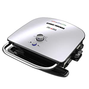 George Foreman GBR5750SSQ Grill & Broil 7-in-1 Electric Indoor Grill, Broiler, Panini Press, and Waffle Maker Removable Plates Silver
