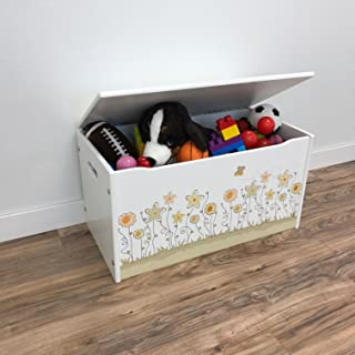 product image for Little Colorado Flower Themed Toy Box – Smooth White Finish/ Handcrafted Kids Furniture