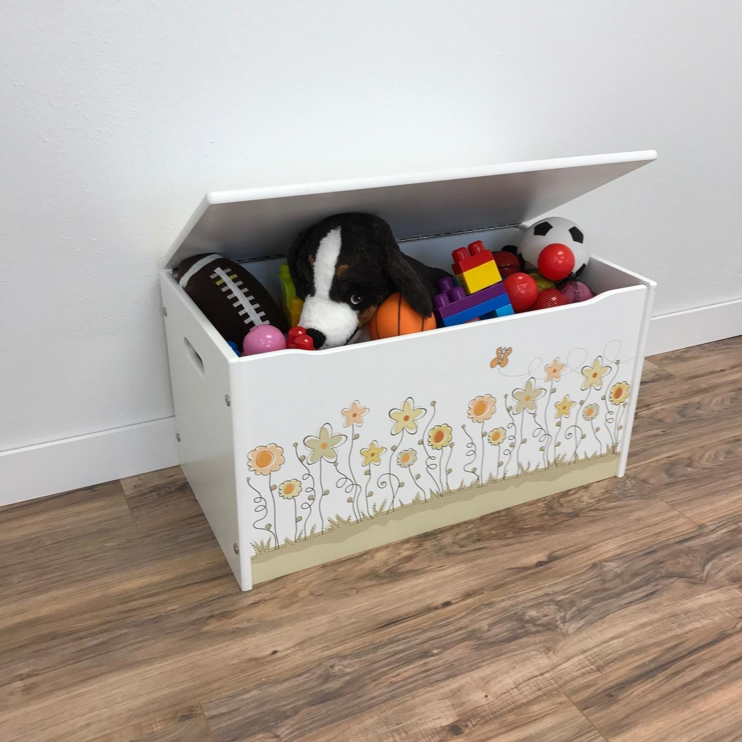 Little Colorado Flower Themed Toy Box – Smooth White Finish / Handcrafted Kids Furniture