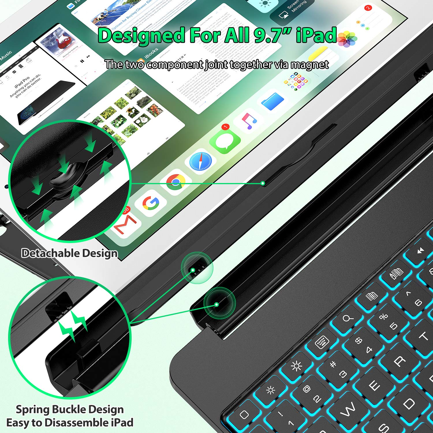 Keyboard Case Compatible with iPad 2018 (6th Gen), iPad 2017 (5th Gen), iPad Pro 9.7,'' and iPad Air 1 and 2 - Features Detachable Design, Rotating Hinge and Adjustable Backlight (Black) by Tezzionas (Image #9)