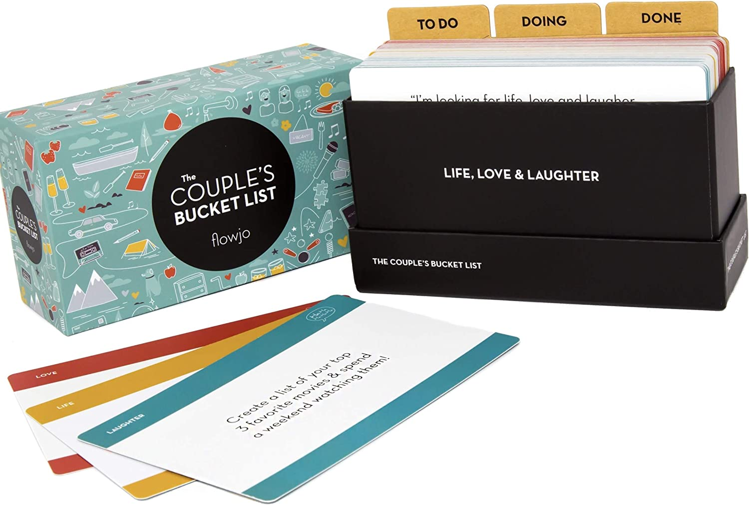 "A picture of night card deck kit ""The Couple's Bucket List""."
