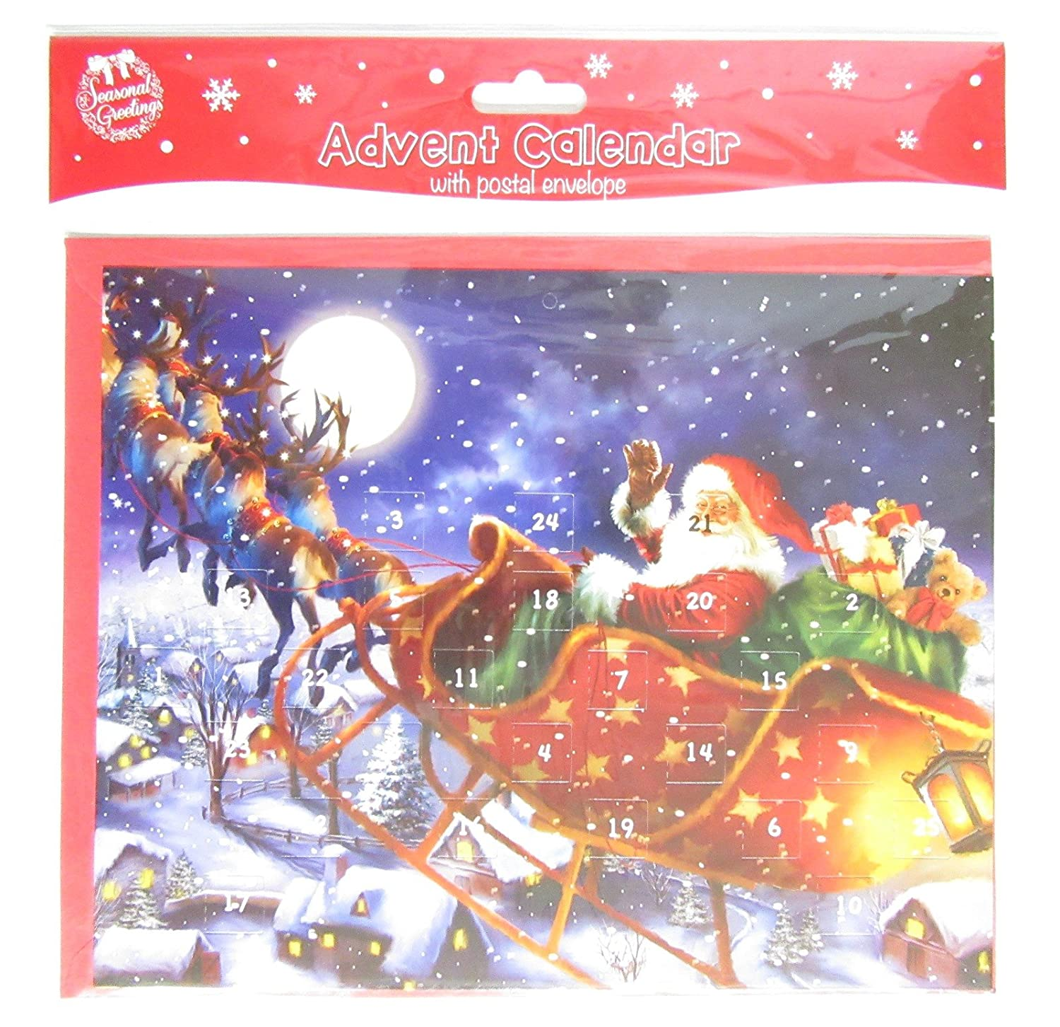 Traditional Christmas Advent Calendar 24 Windows to Open - Santa with Sleigh Tallon Int Ltd
