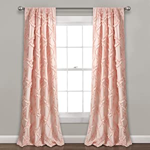 "Lush Decor, Blush Ruffle Diamond Curtains Textured Window Panel Set for Living, Dining Room, Bedroom (Pair), 84"" x 54, 84"" x 54"""