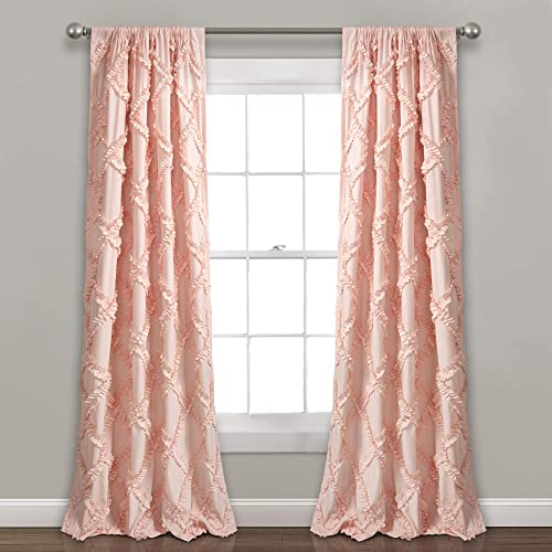 Lush Decor, Blush Ruffle Diamond Curtains Textured Window Panel Set for Living, Dining Room, Bedroom Pair , 84 x 54, 84 x 54