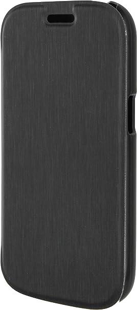 Xqisit Folio Rana Etui en Simili Cuir pour Samsung Galaxy Ace 4 LTE Effet Métallique Noir