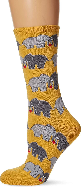 Socksmith Women/'s Socks Elephant Love Crew Black 1pair Sock size 9-11