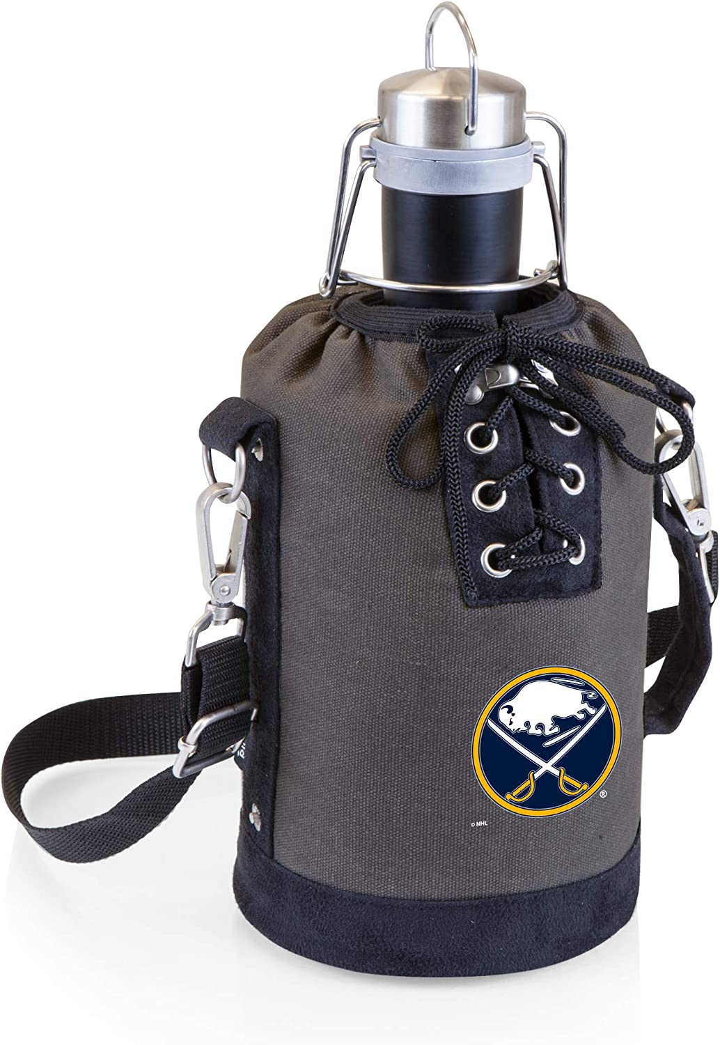 PICNIC TIME NHL Buffalo Sabres Stainless Steel 64-Ounce Matte Black Growler with Gray//Black Canvas Lace-Up Tote