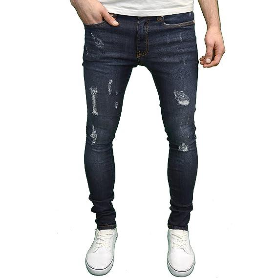 e31e9fa7019 Stone Edge Mens Stretch Super Skinny Fit Ripped Jeans  Amazon.co.uk   Clothing