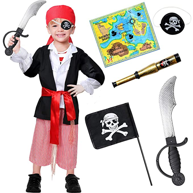 3a9a60c94018 Amazon.com: 9 PCS Pirate Costume Kids Role Play Dress up Accessories Set  for Boys Black: Clothing