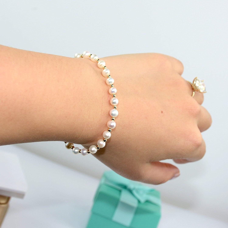 14k White Pearl Bracelet 14K Solid Gold Bracelet Solid 14k Gold Sand Dollar Bracelet 14kt Gold Bracelet Beach Wedding Bracelet BuyAny3+1Free
