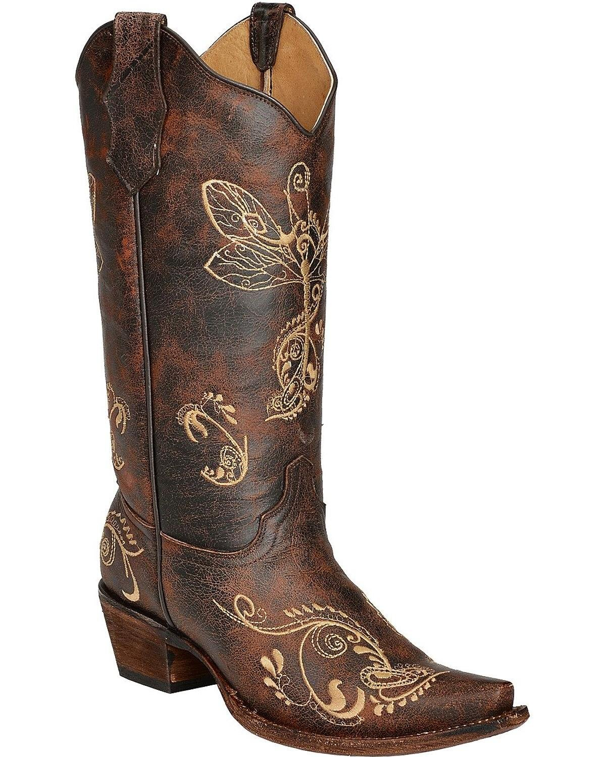 Circle G Womens Distressed Bone Dragonfly Embroidered Boot Snip Toe Brown 8.5 M