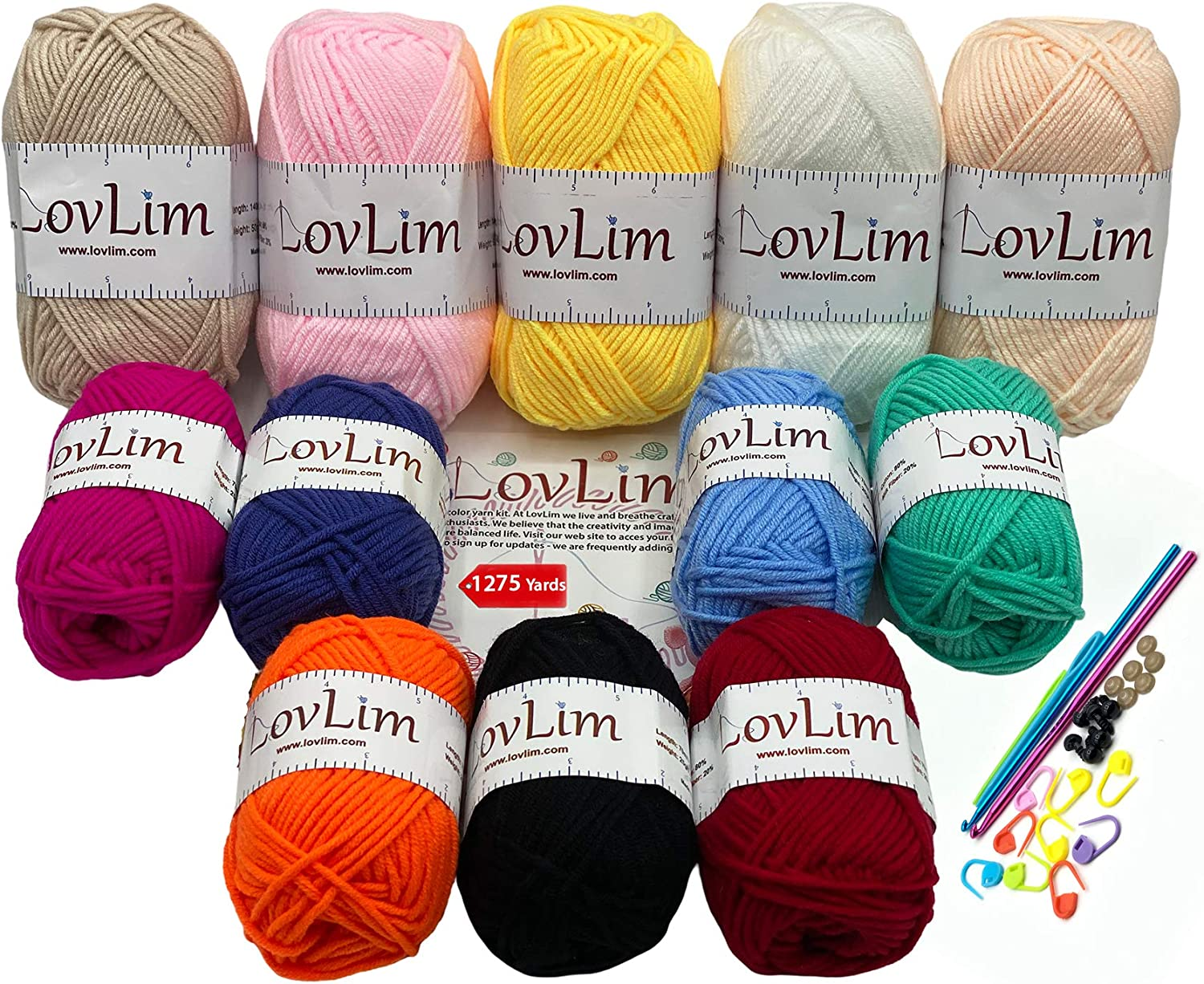 LovLim Crochet Yarn kit, 12 Soft Cotton Yarn Skeins for Crochet and Knitting, Free Patterns for Crochet/Amigurumi, 1275 Yards Craft DK Yarn, Perfect Starter kit