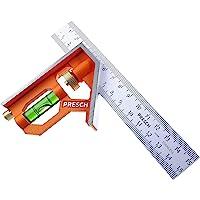 Presch Combinatie Winkelhaak 150mm - Nauwkeurige, Handige Universele Winkelhaak van Metaal met Liniaalaanslag en…