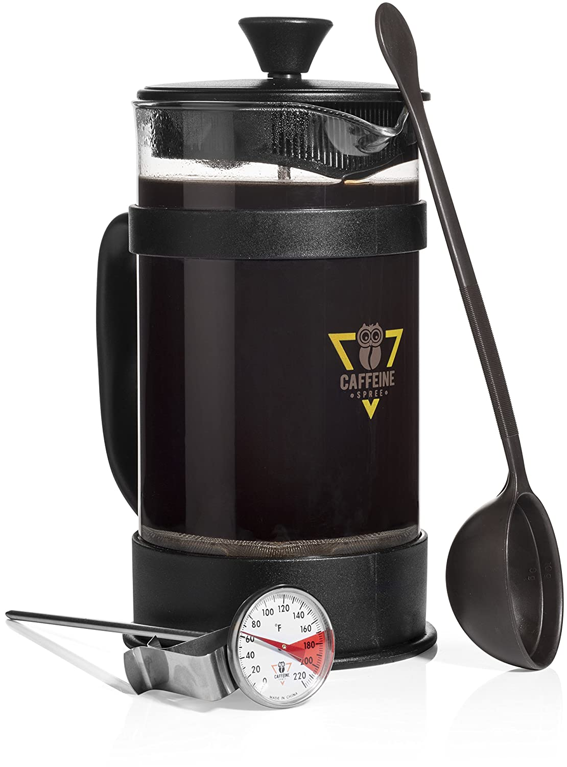 Caffeine Spree IncrediBrew French Press Coffee, Tea Espresso Maker Kit With Stainless Steel Kitchen Thermometer, Measuring Spoon. Makes 8 Cup 1 Liter. Heat Resistant Glass. Best Gift Idea
