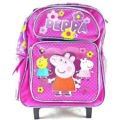 "Peppa Pig 12"" Canvas Pink School Rolling Backpack"