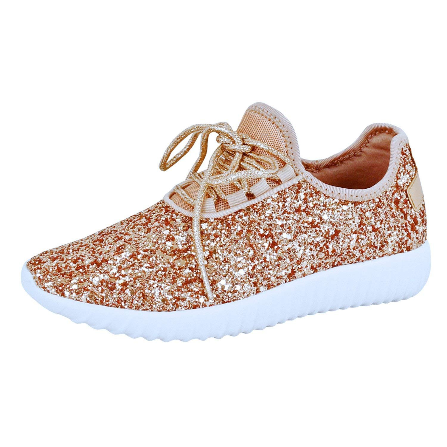 Guilty Shoes Fashion Glitter - Lace up Slip On Wedge Platform Sneaker Boots, Rosegold Glitter, 5.5