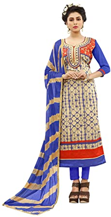 45b4fe2638 Vaidehi Fashion New Arrival Women's Blue & Red Taffeta Semi Stitched Indo  Western Salwar Suit With