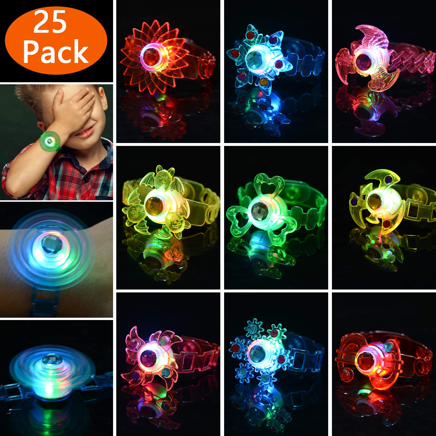 Mikulala Glow in The Dark Birthday Party Favors for Kids Prizes Box Toys for Classroom 25 Pack Light Up Toys Hand Spin Stress Relief Anxiety Toys Bulk Fidget Toys Boys Girls LED Neon Party Supplies by Mikulala