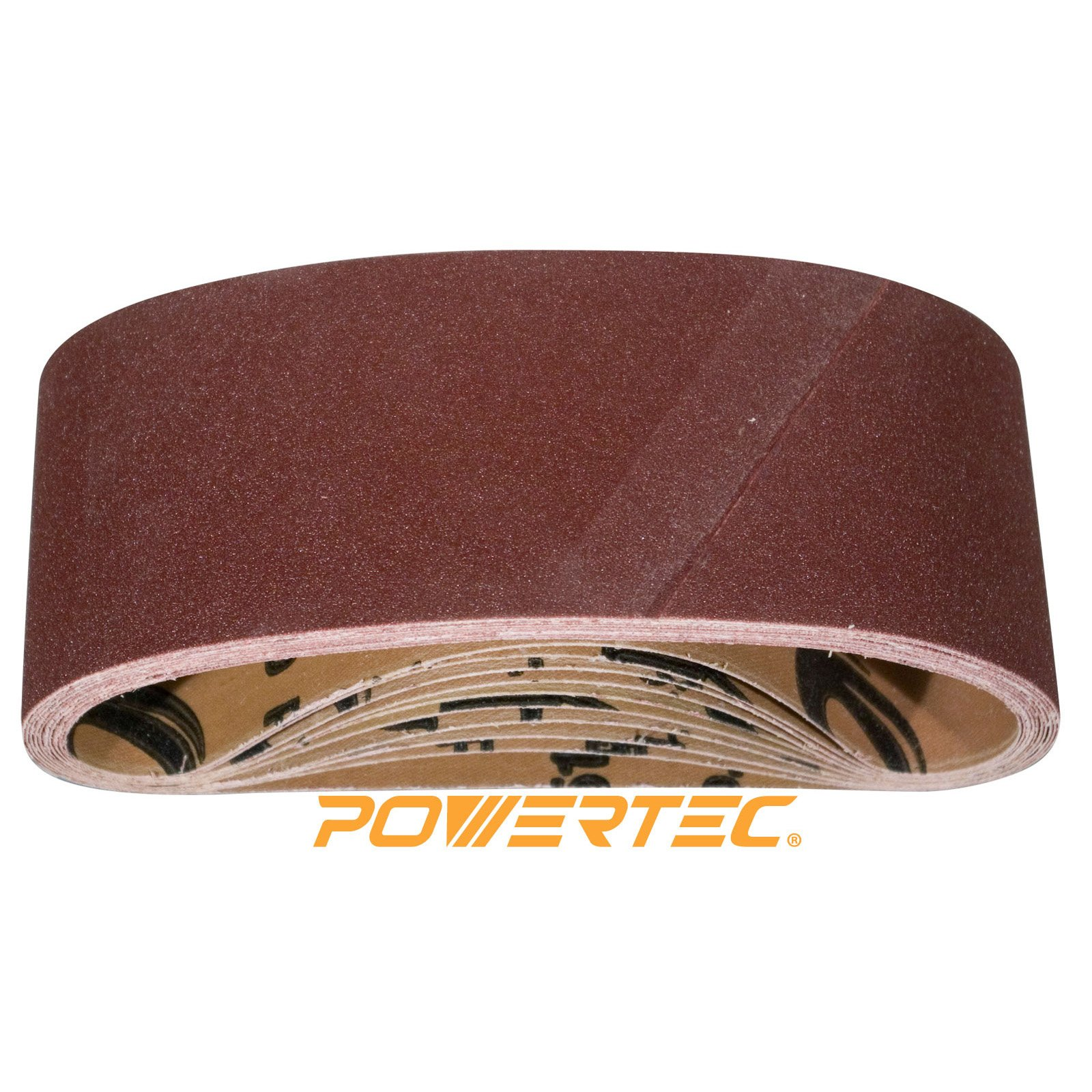POWERTEC 110090 4-Inch x 24-Inch 80 Grit Aluminum Oxide Sanding Belt, 10-Pack