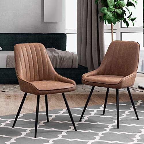 Andeworld Modern Dining Room Chairs Set of 2 Faux Leather Dining Chairs Upholstered Armless Chairs Desk Chairs Brown