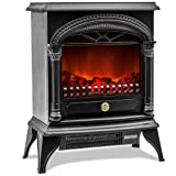 Leisure Zone ® Electric Fireplace Stove Heater with Flame Effect Black, 1850W – Portable Freestanding Fire Place Log Burner Light (Black)