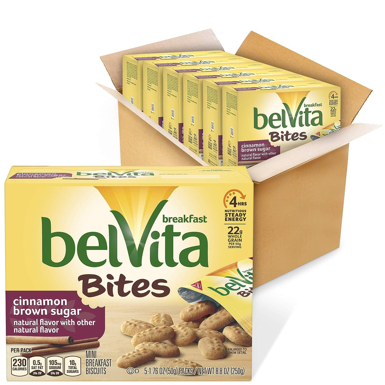 belVita Cinnamon Brown Sugar Mini Breakfast Biscuit Bites, 6 Boxes of 5 Packs (30 Total Packs)