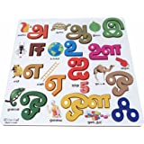 Cryo Craft Tamil Vowels Puzzle Board with Picture (Multicolour)