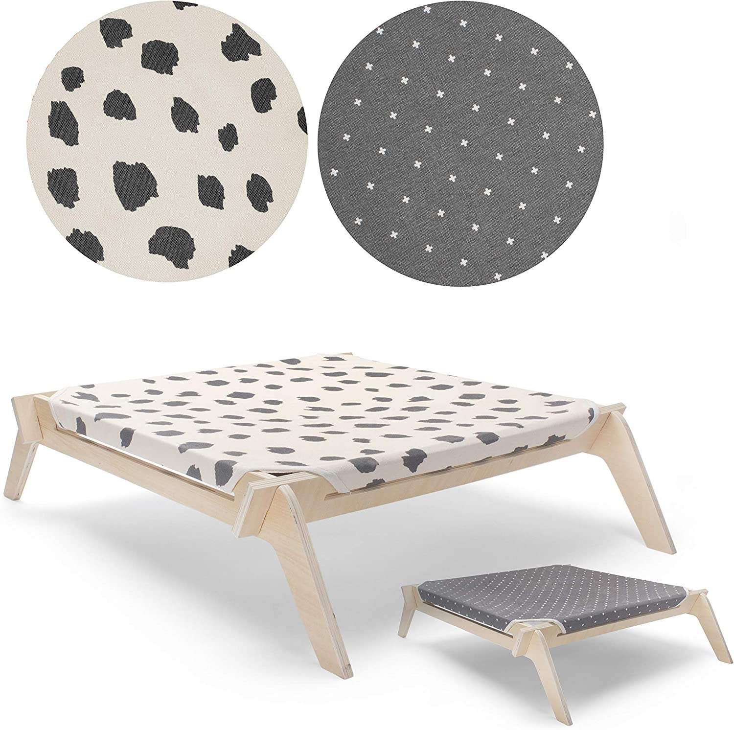 Primetime Petz Pet Lounge, Raised Indoor Pet Bed for Cats or Small Dogs, Reversible Fabric Hammock Neutral Paint Spots/GreyCrosses with Natural Frame