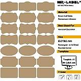 Mr-Label® 7 Tipi di fantasia Forma Brown Kraft Etichette -Self autoadesivi adesivi per la decorazione regalo | artigianale a mano | Finishing Touch | Bottiglie (Dimensioni: 63,5 * 36,1 millimetri, 10 fogli / totalmente 210 etichette)
