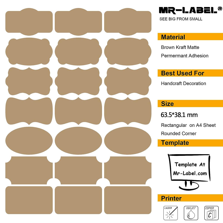 Dimensioni: 63,5 * 36,1 millimetri, 20 fogli // totalmente 420 etichette artigianale a mano Bottiglie Mr-Label/® 7 Tipi di fantasia Forma Brown Kraft Etichette -Self autoadesivi adesivi per la decorazione regalo Finishing Touch