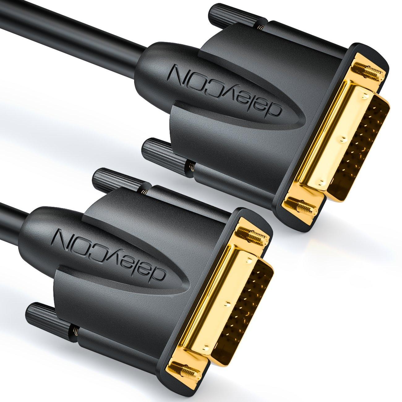 deleyCON C/âble DVI 5m Dual Link 24+1 r/ésolution HDTV jusqu/à 2560x1080 FULL HD 1080p 3D Ready DVI-D Dual Link contacts plaqu/é or Blanc