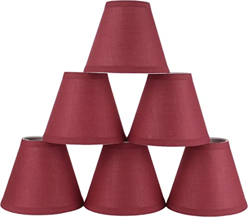Urbanest Mini Chandelier Lamp Shades 6-inch, Cotton, Hardback, Clip On, Burgundy Set of 6