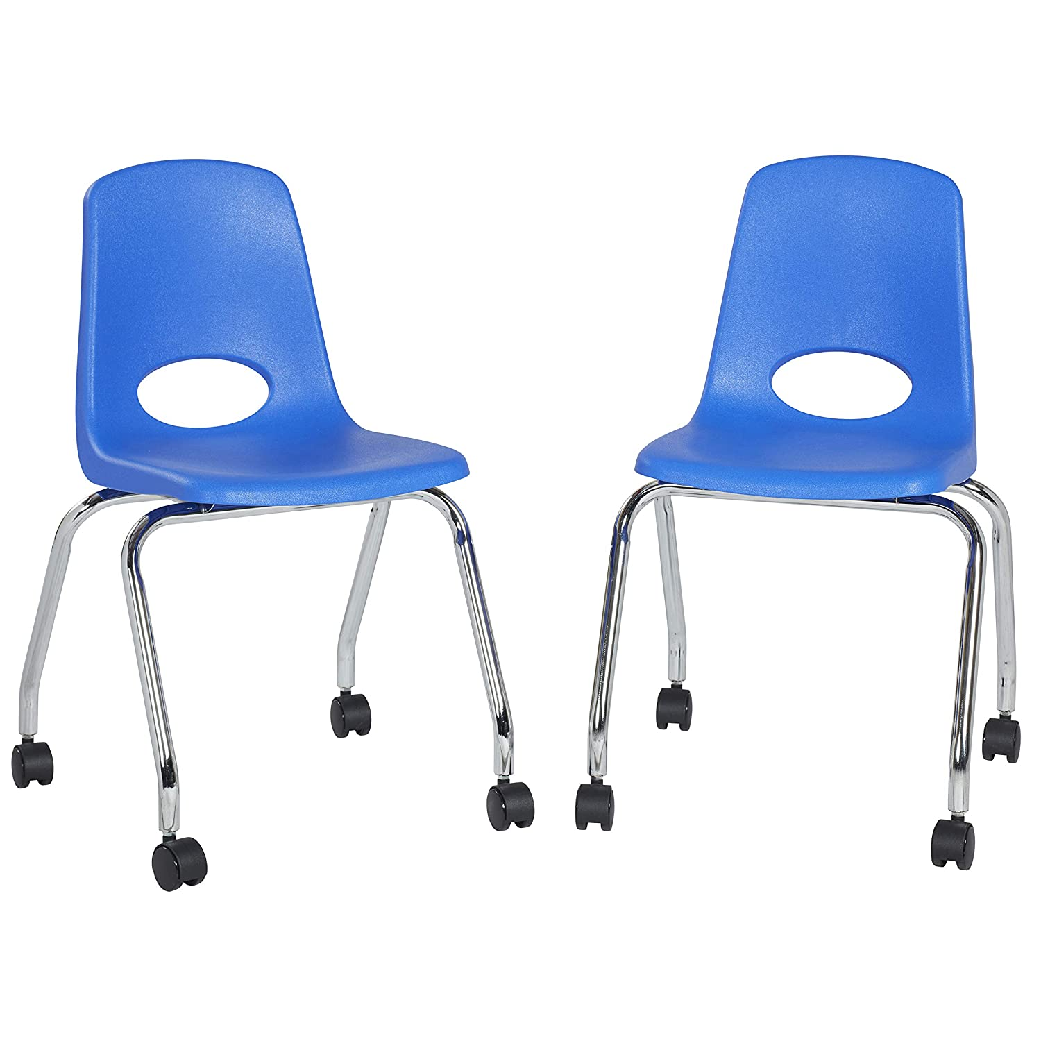 "FDP 18"" Mobile School Chair with Wheels for Kids, Teens and Adults; Ergonomic Seat for in-Home Learning, Classroom or Office - Blue (2-Pack)"