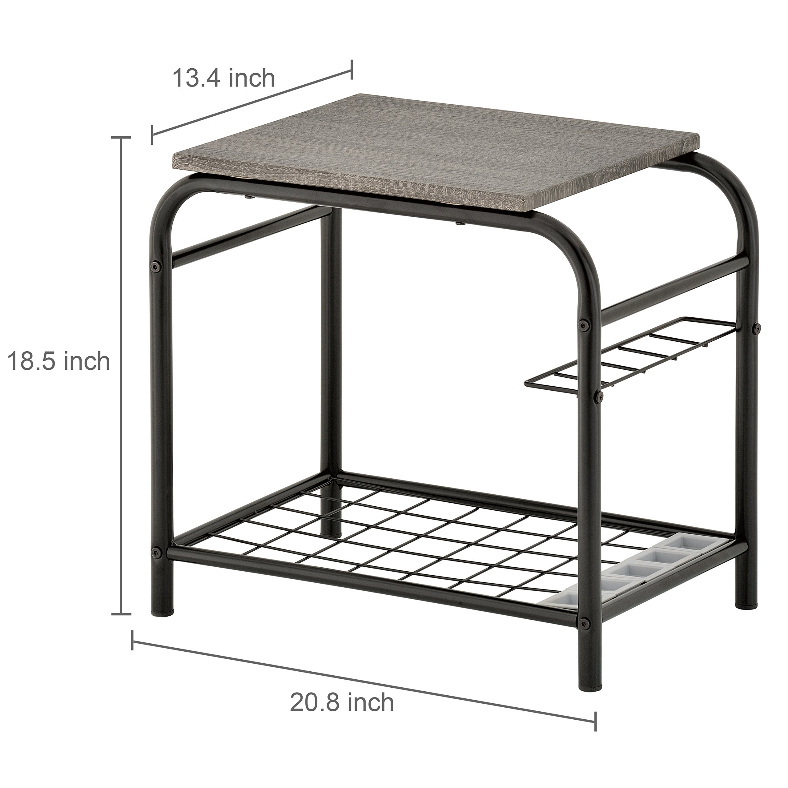 MyGift 3-in-1 Metal Entryway Bench with Wood Seat, Shoe Storage & Umbrella Holder by MyGift (Image #6)