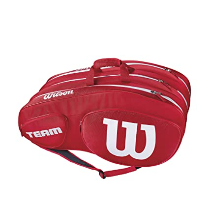 6f2d2e8bfba Amazon.com : Wilson Team III 12 Pack Tennis Bag, Red/White : Sports ...